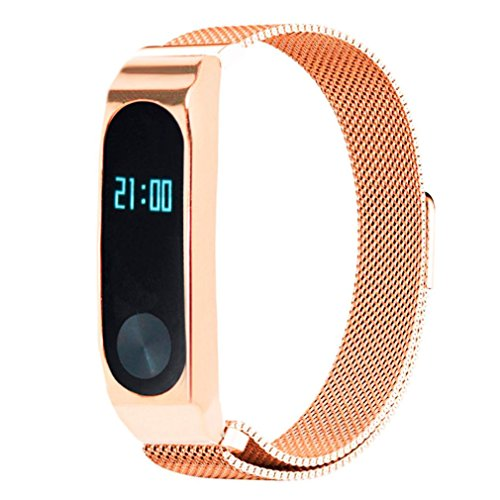 Price comparison product image Boofab Milanese Magnetic Loop Stainless Steel Watch Band, Pluwatch Quick Release Premium Metal Business Replacement Bracelet Strap + Protective shell For Xiaomi Mi Band 2 (C)
