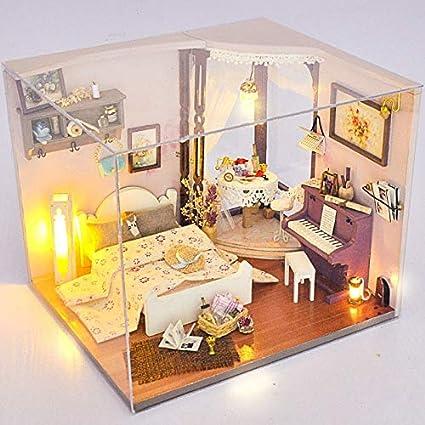 Amazon.com: ZAMTAC Piano Bedroom Miniature Dollhouse Wooden ...