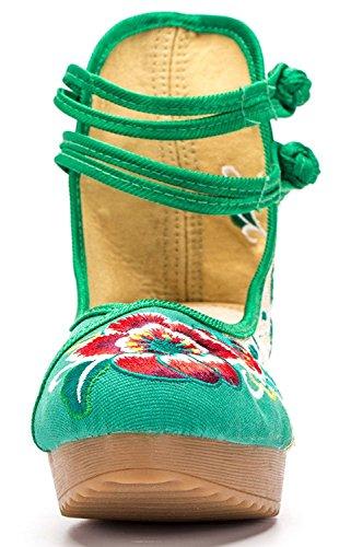Jane Verde Aumentata camminando Altezza Panno Scarpe per Zeppa Le Tela Ricamo Mary Rotonda Moda Donne Medio Scarpe Scarpe Fanwer Casual Punta Scarpe Tacco pSFf4q4wE