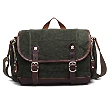 Plambag Retro Canvas Leather Messenger Bag Shoulder Crossbody Bag Schoolbag Deep Green