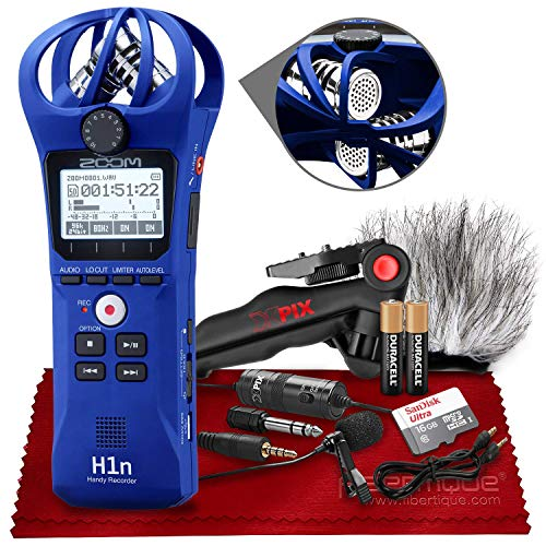 Zoom H1n 2-Input / 2-Track Portable Handy Recorder with Onboard X/Y Microphone (Blue) + Xpix Professional Lavalier Microphone, 16GB Micro Memory Card, Xpix Tripod, AAA Batteries & Accessories