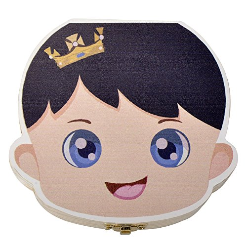 Mogoko Cute Print Baby Tooth Box, Wooden Milk Teeth Storage Case Lost Tooth Organizer for Boy (English, Prince) by Mogoko (Image #1)