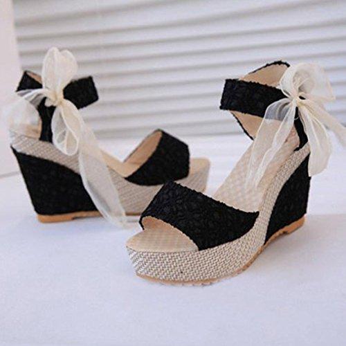 ® Femmes tongs Wedges mocassins été pente sandales Transer Noir q5Sd01