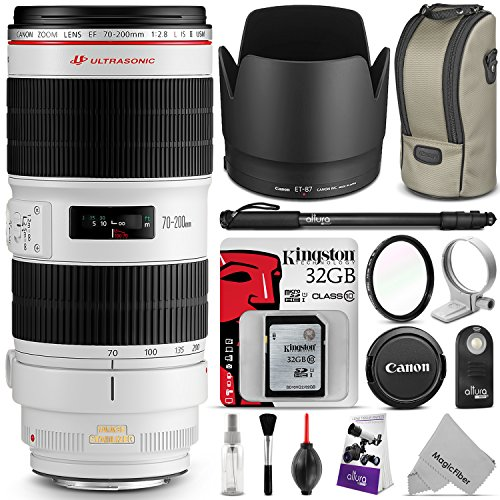 Canon EF 70-200mm f/2.8L IS II USM Telephoto Zoom Lens w/ Essential Photo Bundle – Includes: Altura Photo Monopod, UV Protector, Kingston 32GB C10 SD Card, Camera Cleaning Set