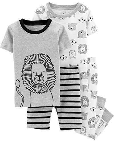 Carter's Boy's 4-Piece Snug Fit Cotton PJ Set, Lion, 3T -