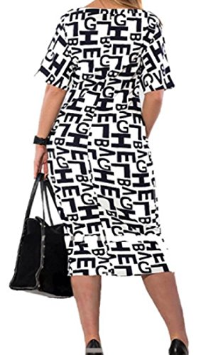 Cut Printed Coolred Out Scoop Cocktail White Neck Women Dress Sleeve Short qgPwnOPF