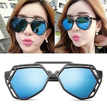 baea887e7a1a BM new elegant personalized sunglasses, Ladies Sunglasses, male tide star  glasses, round face, Korean retro eyes,Black box blue film (bag):  Amazon.co.uk: ...