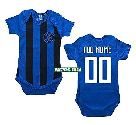 363808a053 Inter Body Neonato Neroblu Personalizzato Ufficiale F.C: Amazon.it: Sport e  tempo libero