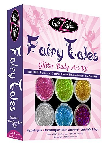 Fairy Tales Glitter Tattoo Kit with 6 Large Glitters & 12 Amazing Stencils – HYPOALLERGENIC and DERMATOLOGIST TESTED! -Temporary Tattoos & Body Art