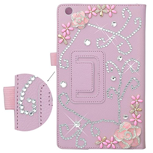 Spritech(TM) Bling Crystal Pink Case Premium PU Leather Folding Stand Case Cover for Lenovo Tab 2 A8-50 8 Inch by Spritech