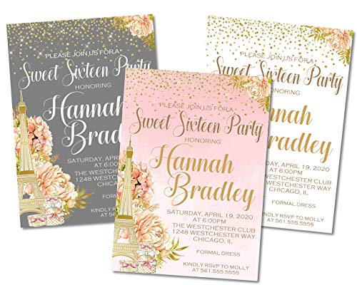 Paris Sweet 16 Birthday Party Invitations With Envelopes, French Parisian Sweet 16 Birthday Party Invitations ()