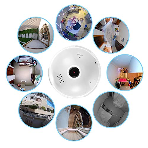 Full HD 1080P Home WiFi Camera, 360 Degree Panoramic Wireless Security IP Camera for Home Baby Pet Monitor Remote Viewing Camera Night Vision Motion Detection Wireless Camera 2.4GHz