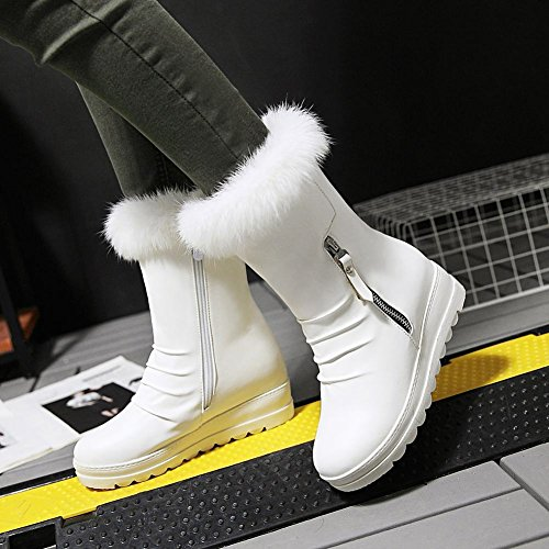 Show Shine Womens Chic Hidden Heel Platform Ankle High Snow Boots White T1fvb