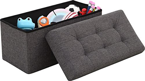 """Ellington Home Foldable Tufted Linen Large Storage Ottoman Bench Foot Rest Stool/Seat - 15"""" x 30"""" x 15"""" (Charcoal)"""