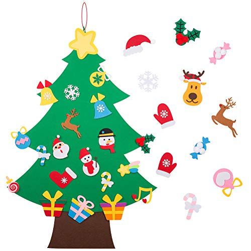 Hutikla Felt Christmas Tree - 3.6 FT 3D DIY Set for Kids with 33 Pieces of Ornament Decor, Wall Hanging Christmas Tree Decorations