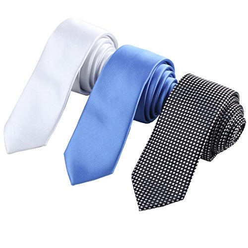 (EAFF0007 Set Of 3 Skinny Neckties Various Of Colors Silk Thin Ties Discount For Designer By Epoint)