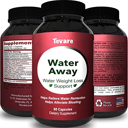 (Premium Water Pills Diuretic Natural & Pure Dietary Supplement for Water Retention Relief Weight loss Detox Cleanse for Men & Women with Vitamin B-6 Potassium Chloride Dandelion Root by Tevare)