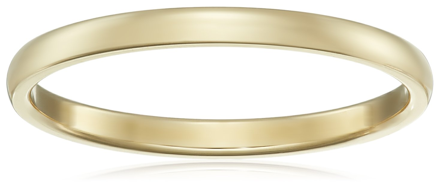 Classic Fit 14K Yellow Gold Band, 2mm, Size 7 by Amazon Collection
