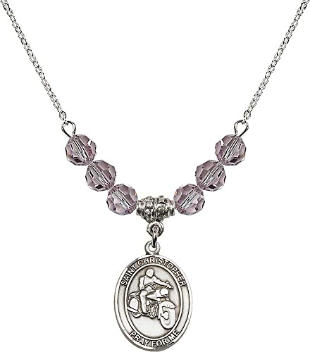 18-Inch Rhodium Plated Necklace with 6mm Light Amethyst Birthstone Beads and Sterling Silver Saint Christopher//Track/&Field-Women Charm.