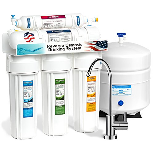 Express Water 5 Stage Home Drinking Reverse Osmosis Water Filtration System 50 GPD RO Membrane Filter - Modern Chrome Faucet - Ultra Safe Residential Under Sink Water Purification - One Year Warranty - Dual Stage Drinking Water Filter