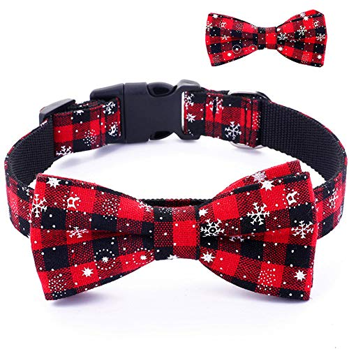 Umisun Pet Basic Collar with Detachable Bow Tie-Christmas Snow Pattern Cotton Collar Charm Necklace Outfits Accessories…