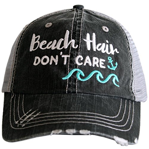 Katydid Beach Hair Don't Care Women's Distressed Grey Trucker Hat (Mint Waves) ()