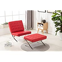Mcombo Balcony Barcelona Style Modern Lounge Chair and Ottoman Soft Leather High Density Foam Cushions & Seamless Visible Corners (Red)