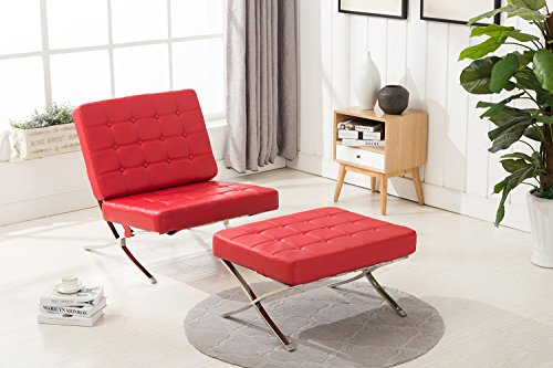 Barcelona Leather Ottoman (Mcombo Balcony Barcelona Style Modern Lounge Chair and Ottoman Soft Leather High Density Foam Cushions & Seamless Visible Corners (Red))