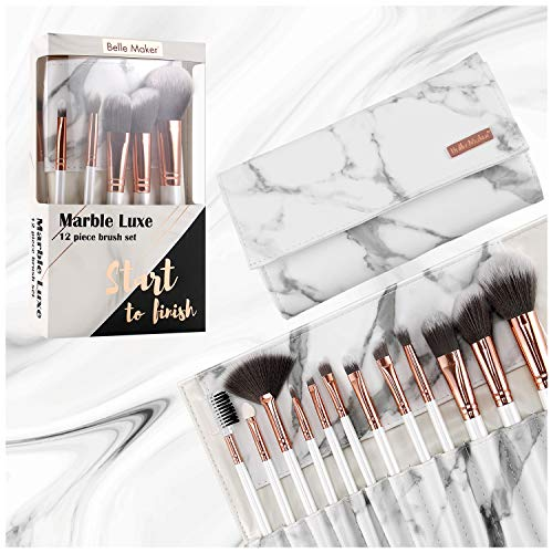 Marble Luxe Belle Maker Makeup Brushes 12pc ROSE GOLD Make Up Brushes Set With Professional Marblious Travel Vegan Leather Marble Makeup Brush Set Bag Organizer Case Kit with Eyeshadow Eyebrow -