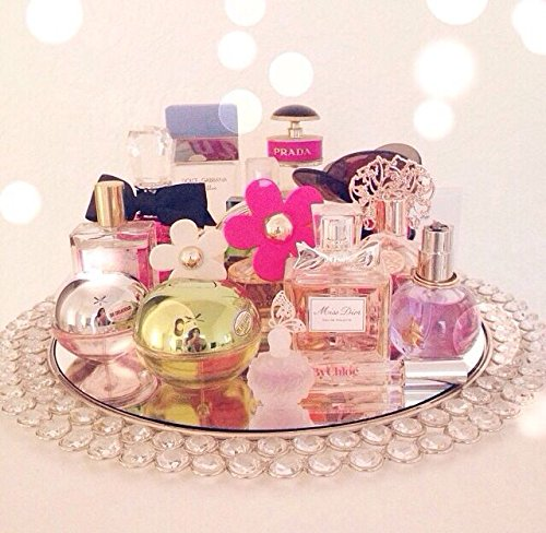 Feyarl Crystal Mirrored Jewelry Tray Cosmetic Organizer Vanity Tray Decorative Tray (Silver) by Feyarl (Image #8)
