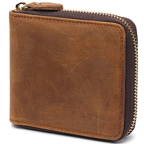Huztencor Zipper Wallet Men Leather RFID Blocking Wallets for Men with ID Card Window Secure Zip Around Bifold Wallets Brown(FBA)