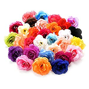 Csoudna Flower Heads for Crafts Bulk Artificial Flower Heads Roses Silk Flower Heads DIY Fake Flowers for Decoration Wedding Home Decoration Festive Accessories Party Decor 30PCS/Lot 7CM 13