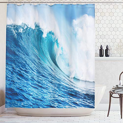 (Ambesonne Ocean Decor Collection, Large Powerful Pacific Surf Sea Wave Crashes Hard Picture Print, Polyester Fabric Bathroom Shower Curtain Set with Hooks, Blue Aqua White)
