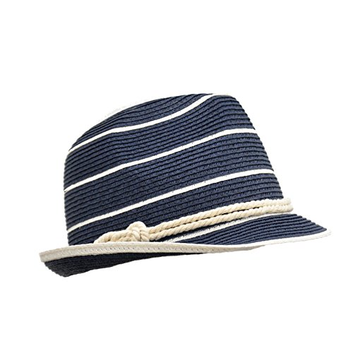 [Navy Summer Straw Fedora, Nautical Striped Panama Hat with Rope Hat Band, Packable] (Sailor Straw Hat)