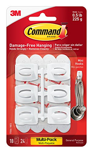Command Mini Hooks Value Pack, White, 18-Hooks (17006-18ES) (Plastic Utility Hook)