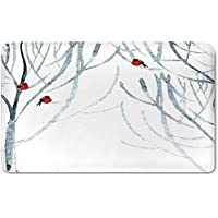 Memory Foam Bath Mat,Modern Decor,Trees Water Colored Image of Winter Woods with BullfinchesPlush Wanderlust Bathroom Decor Mat Rug Carpet with Anti-Slip Backing,Black White Light Grey and Red