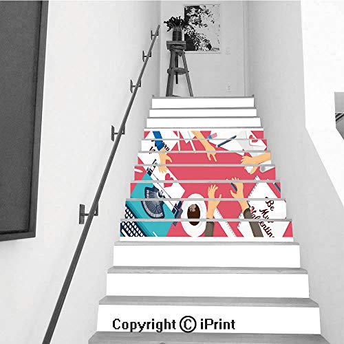 3D Printed Self-Adhesive Stairs Risers Stickers Wall,13pcs for sale  Delivered anywhere in USA