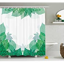 Mint Shower Curtain by Ambesonne, Tropical Green Leaves Wildlife Botanical Fern Leaf Bush Field Forest Illustration Art, Fabric Bathroom Decor Set with Hooks, 84 Inches Extra Long, Jade Green