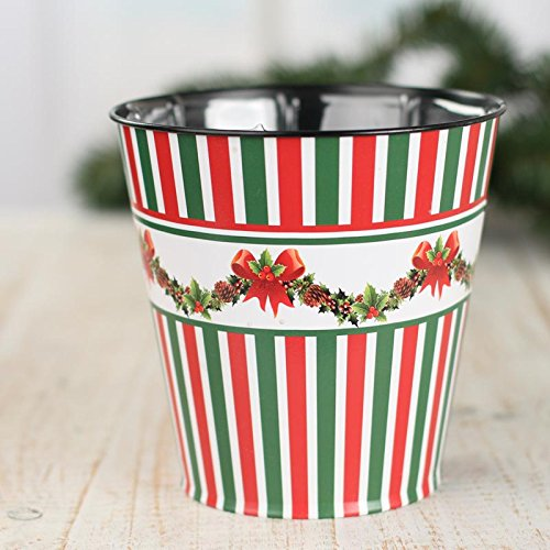 Planter Holly (Factory Direct Craft Metal Christmas Candy Stripe and Holly Bucket Planter With Liner for Home Decor and Displaying)