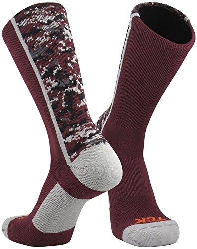 TCK Sports Digital Camo Crew Socks (Maroon, ()