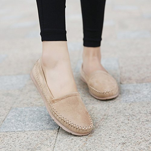 Meeshine Womens Flats Komfort Slip On Casual Fahren Faulenzer Beige