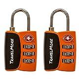 2 Pack Open Alert Indicator TSA Approved 3 Digit Luggage Locks for Travel Suitcase & Baggage (Orange) ...