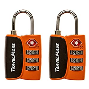 2 Pack Open Alert Indicator TSA Approved 3 Digit Luggage Locks for Travel Suitcase & Baggage (Orange)