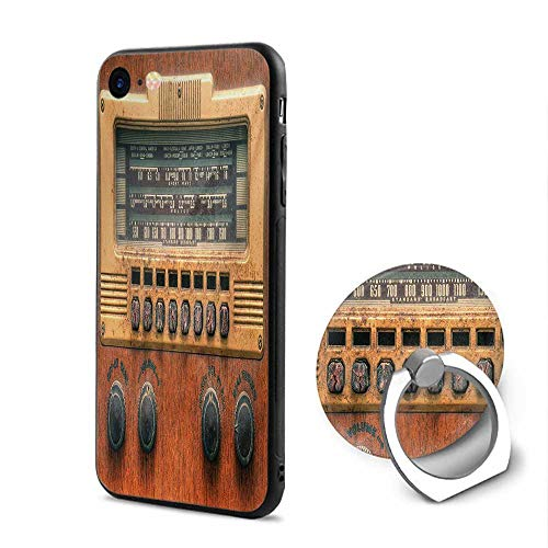 (Vintage iPhone 6/iPhone 6s Cases,Retro Antique Ancient Radio Music Player Enjoyment Holiday Theme Artwork Print Brown Ecru,Mobile Phone Shell Ring Bracket)