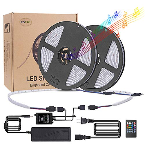 ESEYE LED Music Sync 32.8ft Flexible Self-Adhesive Sound Activated RGB Mood Strip 300LED Neon Ribbon Light Festival Illumination IP65 12V IR Remote for Home Decor Bar Bedroom, (Red, Green, ()