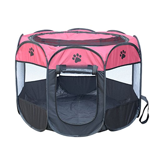 Cookisn HOT Portable Folding Pet Tent Dog House Cage Dog Cat Tent Playpen Puppy Kennel Easy Operation Octagonal Fence Outdoor Supplies 05 80X80X58