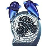 Deco Breeze Figurine Fan with Magnet Top, Dolphins