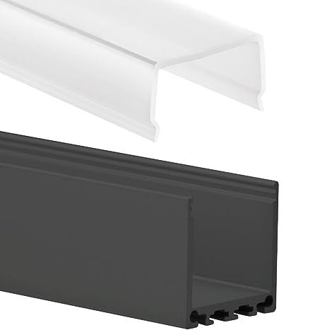 pn6 chort C11 Negro F. – Perfil de aluminio tira LED 2 m + Protectora