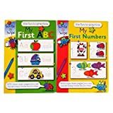 Children's A4 Educational Wipe Away Books - My First ABC and My First Numbers - Each 8 Pages - by Martello