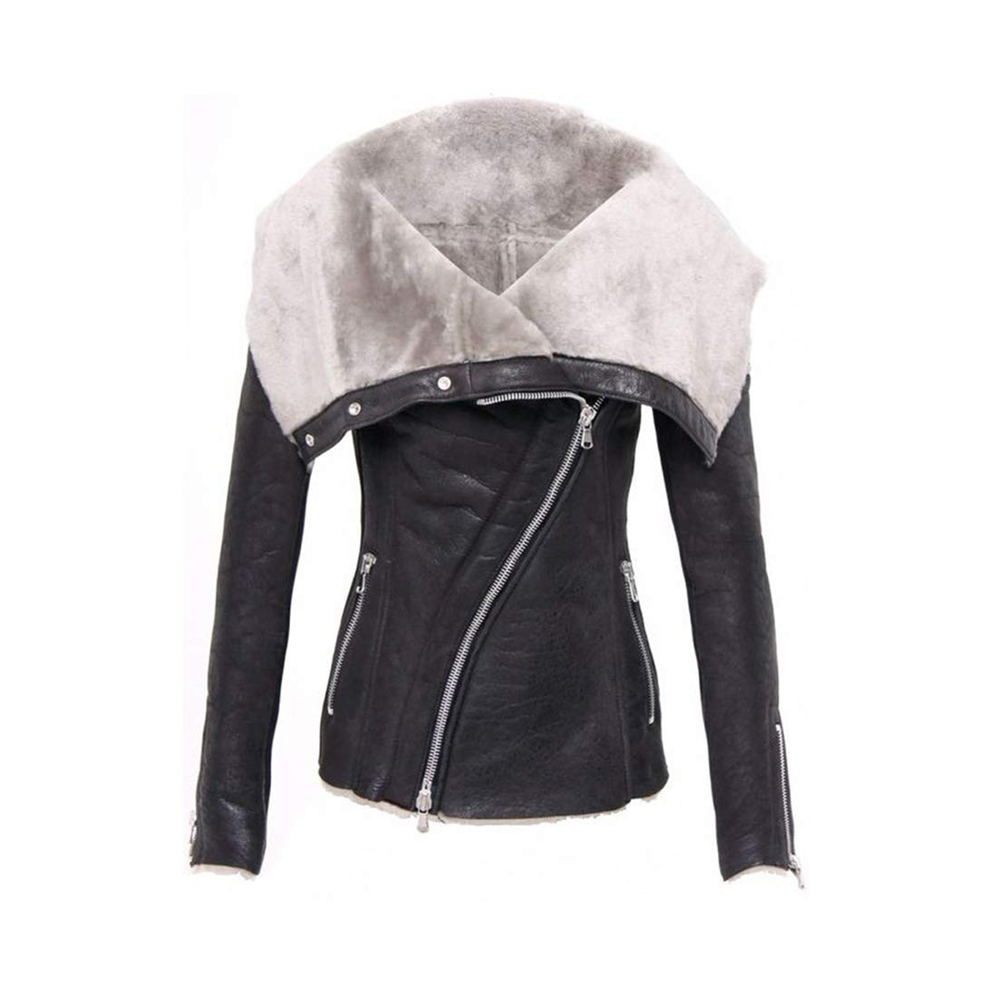Black Zhhmeiruian Women Leather Asymmetry Suede Moto Biker Jacket  Zip Waterproof Coat